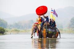 Sukhothai ordination parade on elephant back festival at Hadsiao Temple Stock Photo