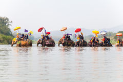 Sukhothai ordination parade on elephant back festival at Hadsiao Temple Stock Image
