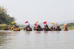 Sukhothai ordination parade on elephant back festival at Hadsiao Temple Stock Images