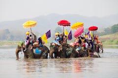 Sukhothai ordination parade on elephant back festival at Hadsiao Temple Royalty Free Stock Images