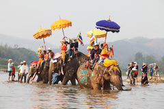 Sukhothai ordination parade on elephant back festival at Hadsiao Temple Stock Images