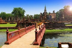 Sukhothai ruin old city country at Sukhothai Historical Park Stock Photos