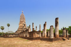 Sukhothai ruin old pagoda against blue sky at Wat Phra Sri Ratta Royalty Free Stock Photos