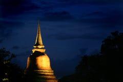 Sukhothai Tailandia alla notte Fotografia Stock Libera da Diritti