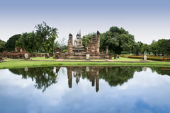 Sukhothai temple buddha reflections thailand Stock Photography
