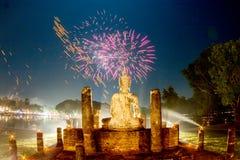 SUKHOTHAI,THAILAND - NOVEMBER 21 : Light and sound show at Loy K Royalty Free Stock Photo