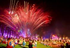 SUKHOTHAI,THAILAND - NOVEMBER 10 : Light and sound show at Loy K Royalty Free Stock Photo