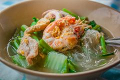 Suki in broth Mixed seafood with vermicelli and vegetables royalty free stock images