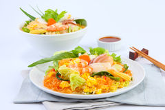 Suki dry fried vermicelli with cabbage and seafood Royalty Free Stock Images
