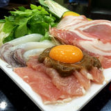 Suki. Egg and meat vegetable for Suki japanese food Stock Image