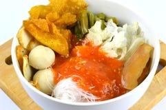 Suki meal set.Asian food style. Suki in a bowl.Asian food style.White background stock photo