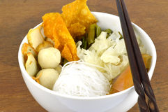 Suki meal set.Asian food style. Suki in a bowl.Asian food style.Wooden background stock images