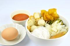 Suki meal set.Asian food style. Suki set serve with egg and spicy suki sauce.Asian food style royalty free stock photo