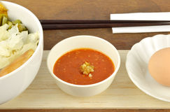 Suki meal set.Asian food style. Suki set serve with egg and spicy suki sauce.Asian food style royalty free stock photography