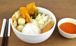Suki meal set.Asian food style. Suki set serve with spicy suki sauce.Asian food style.Wooden background stock photo