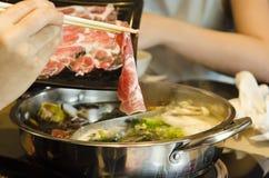 Suki Shabu-varkensvlees Stock Foto