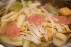 Suki Yaki Vegetables in soep Royalty-vrije Stock Foto's