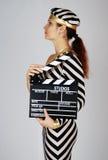 sukienki modelu wpr strzelać stripy Zdjęcie Stock
