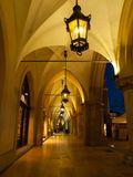 Sukiennice Cloth Hall colonnade by night Royalty Free Stock Photography