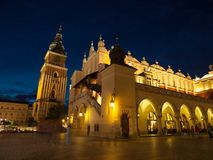 Sukiennice and Town Hall Tower in Krakow by night Royalty Free Stock Photos