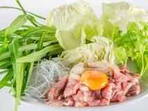 Sukiyaki牛肉集合菜单,热的罐, Shabu 免版税图库摄影