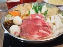Sukiyaki, alimento giapponese Immagini Stock Libere da Diritti