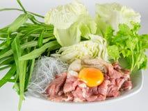 Sukiyaki beef set menu, Hot pot, Shabu Stock Photos