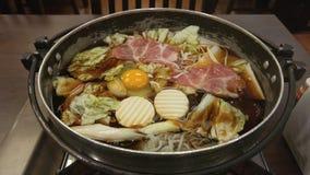 Sukiyaki in Black Pan, Japanese Style Royalty Free Stock Images