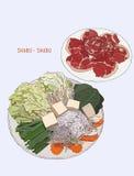 Sukiyaki caldo, shabu Disegno dell'illustrazione royalty illustrazione gratis