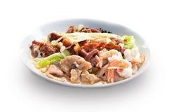 Sukiyaki com carne de porco, carne e camarão Foto de Stock