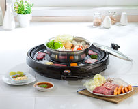 Sukiyaki and Japanese food grill set Stock Photography