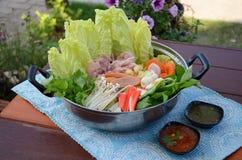 Sukiyaki lub japoński gorący garnek Zdjęcia Royalty Free
