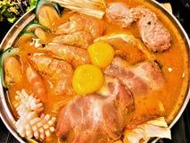 Sukiyaki seafood in hot pot at japanese restaurant .Japanese food. royalty free stock photography