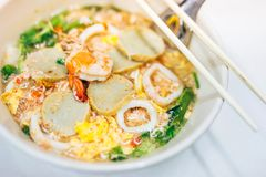 Sukiyaki seafood to boil hot water royalty free stock photo