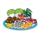 Sukiyaki set of meat vegetable mushroom Royalty Free Stock Photo
