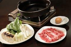 Sukiyaki uppsättning royaltyfri fotografi