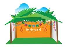 Sukka illustration greeting card. Illustration for jewish sukkot holidays Royalty Free Stock Photography