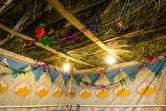 Sukkah - символическая временная хата для торжества еврейского праздника Sukkot Стоковые Изображения RF