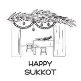 Sukkah avec la table, la nourriture et les symboles de Sukkot illustration de vecteur
