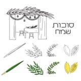 Sukkah avec la table, la nourriture et les symboles de Sukkot Photo libre de droits