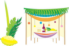 Sukkah and the four species Stock Photo