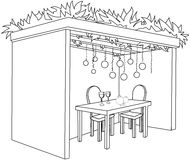 Sukkah For Sukkot With Table Coloring Page. A Vector illustration coloring page of a Sukkah decorated with ornaments and a table with glasses of wine and fruits royalty free illustration