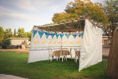 Sukkah - symbolic temporary hut for celebration of Jewish Holiday Sukkot Stock Photo