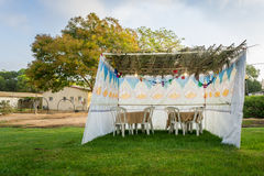 Sukkah - symbolic temporary hut for celebration of Jewish Holiday Sukkot Royalty Free Stock Photography