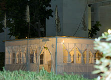 Sukkah , temporary hut  for  Jewish festival of Sukkot Royalty Free Stock Images