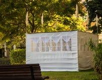 Sukkah, vorübergehende Hütte konstruiert für jüdisches Festival von Sukkot Stockfotografie