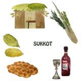 Sukkot, εβραϊκές διακοπές Με την εικόνα Etrog, lulav, hadas, arava συρμένος εικονογράφος απεικόνισης χεριών ξυλάνθρακα βουρτσών ο διανυσματική απεικόνιση