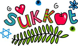 Sukkot Cartoon Doodle Text. Simple hand drawn doodle text, in a cute and whimsical cartoon style which says - SUKKOT ( feast of tabernacles Royalty Free Stock Images