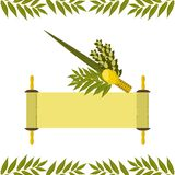 Sukkot. Judaic holiday. Traditional symbols - Etrog, lulav, hadas, arava. Torah scroll. Sukkot. Concept of Judaic holiday. Traditional symbols - Etrog, lulav vector illustration