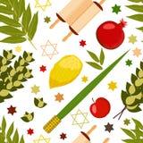 sukkot Festa giudaico cristiana Simboli tradizionali - Etrog, lulav, hadas, arava Rotolo di Torah Apple, melograno, fichi Stella  illustrazione di stock